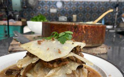 Vegan open lasagne van knolselderij en linzen